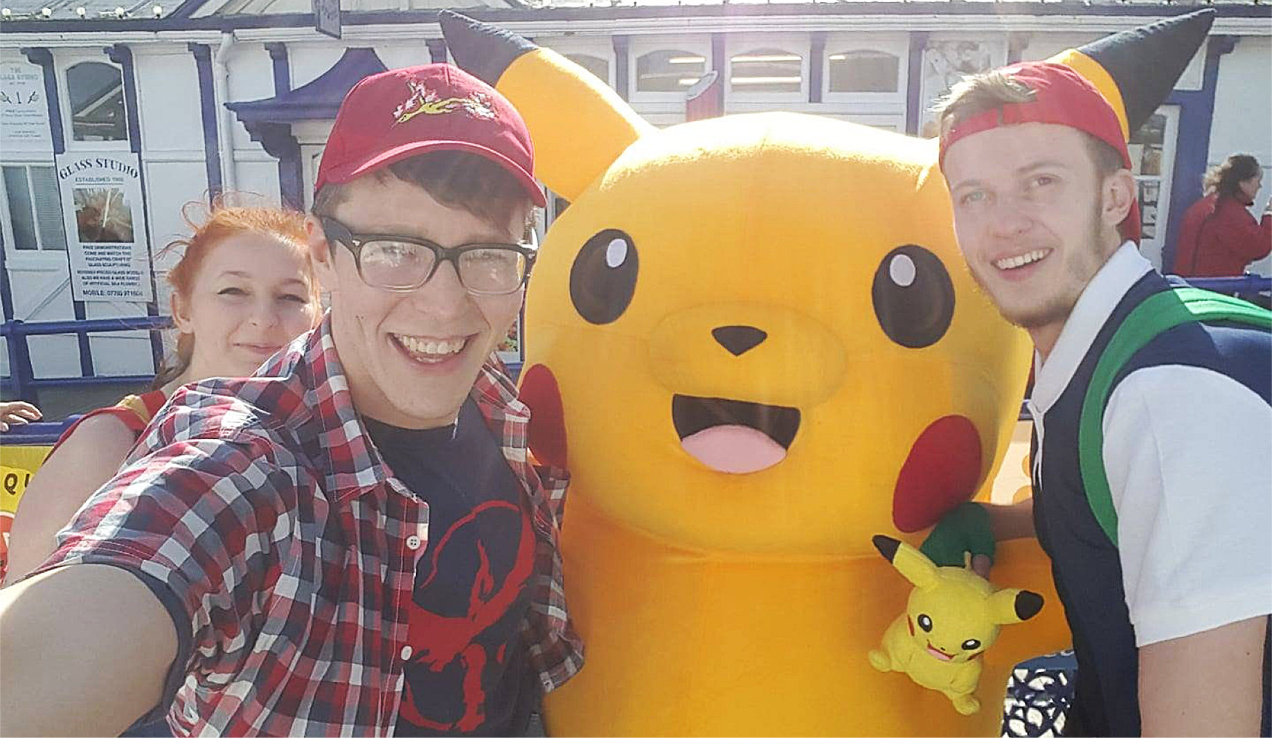 Me with Ash, Misty and Pikachu at Eastbourne PokePier 2!