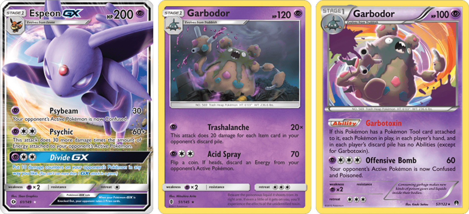 The focal points of the Espeon GX/Garbodor deck!