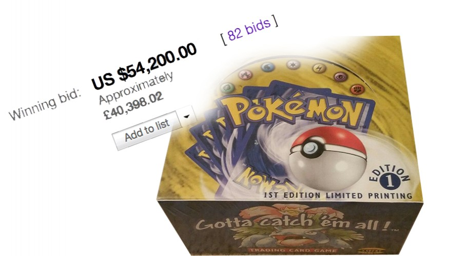 Winning Bid - $54,200 1st Edition Base Set Booster Box